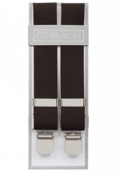 Plain Chocolate Brown Trouser Braces With Large Clips